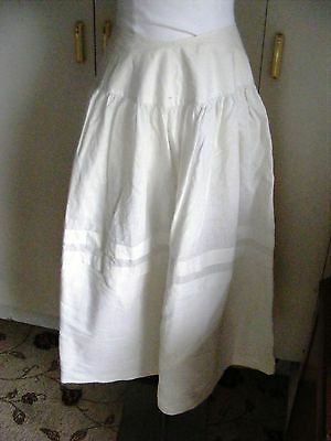 Victorian 1880s vintage petticoat white linen with deep pleated border hand sewn
