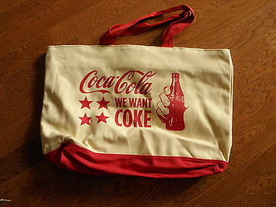 WE WANT COKE   Extra Large Canvas Bag & Wristlet      NEW