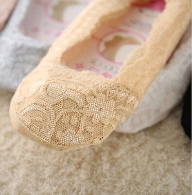 5 Pairs Women Ladies Sexy Silicone Antislip Lace Invisible Low Cut Boat Sock