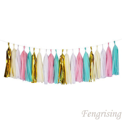5Pcs Tissue Paper Tassels Garlands Bunting Ballroom Party Wedding Home Decor