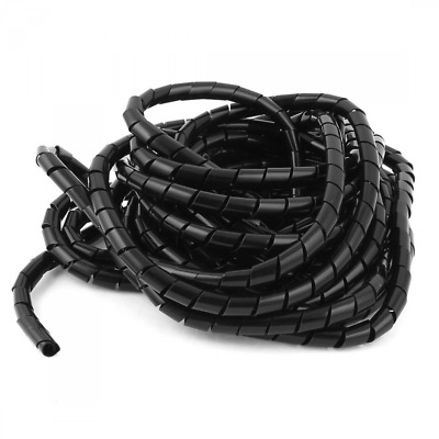 10mm 9.5M Computer Manage Cord Spiral Cable Wire Wrap Tube Black