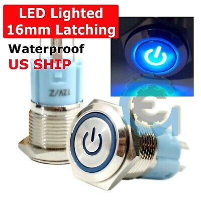 16mm Waterproof Power Push Button Latching Switch w/ 12V Blue LED Head