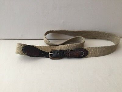 Men's Brass Buckle Leather Torino 36-38 Belt Beige Tan