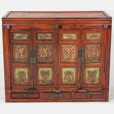 Early 20th c Chinese Red Lacquered Cabinet