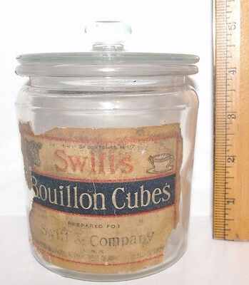 Antique Country Store Swifts Bouillon Cube Jar With Lid  / Paper Label