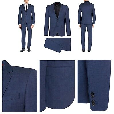 $795 HUGO BOSS men BLUE 2-BUTTON WOOL BLAZER SUIT JACKET SPORT COAT 40 R 50 EU