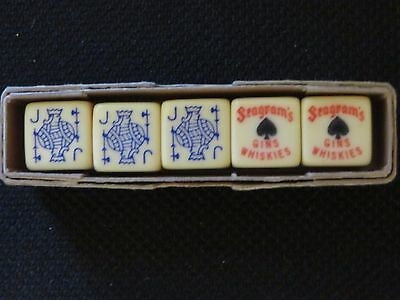 Unique Seagram's Gins Whiskies Dice Set Of 5  Each Has King,queen,jack,ten,nine