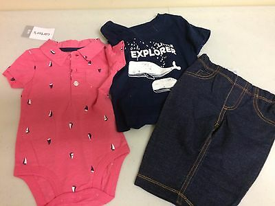 b0e229a6a New Carter's Baby Boys 3-Piece Jeans,Bodysuit and Shirt Set 6 Months NWT