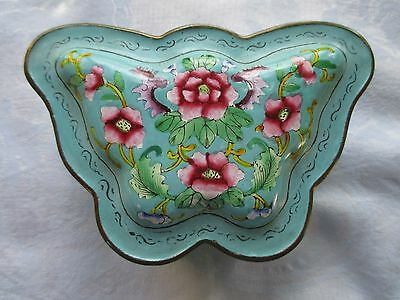 Vintage Chinese Export Enamel Copper Butterfly Trinket Jewelry Box Signed Floral