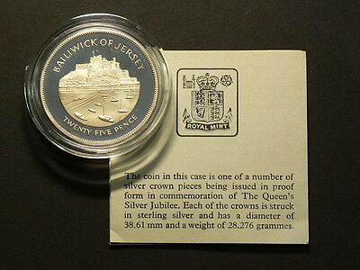 1977 Bailiwick of Jersey  25 Pence Sterling Silver 28.2g  Heavy Cameo #G6314