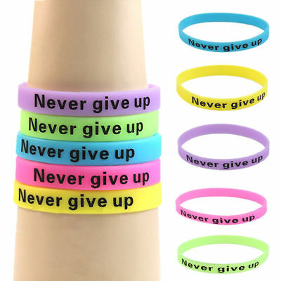 5* Bracelets Silicon Rubber Luminous Sport Wristband Motivation Never Give Up