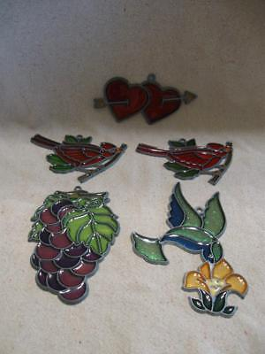 5 VTG Stained Glass Sun Catchers Grapes Cardinals Hummingbird Double Hearts