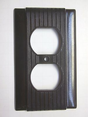 1 Vintage Brown Uniline P&S Outlet Plate Cover Ribbed Lines Bakelite Art Deco