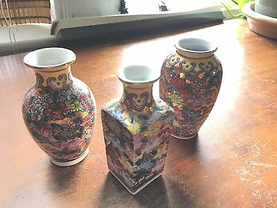 3 Chinese Small Porcelain Vase Qianlong Nian Zhi Red Mark- Excellent
