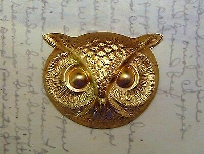 Large Raw Brass Owl Head Stamping (1) - FF1473 Jewelry Finding