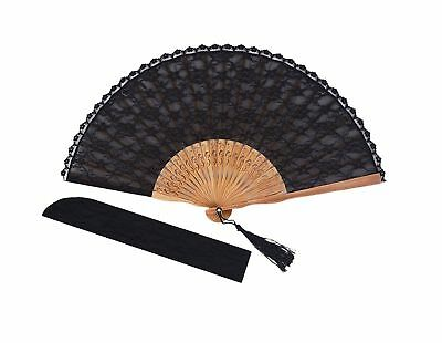Amajiji Chinese /Japanese Vintage Retro Style Bamboo Wood Silk Folding Hand Fan