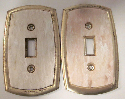 Vintage Lot Pair 2 Dilly Brass Plated Steel Marbled Bakelite Switch Plate Covers