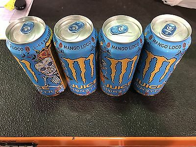 Monster Energy MANGO LOCO - NEW 2017 Flavor - X4 Cans Full, Sealed Cans!
