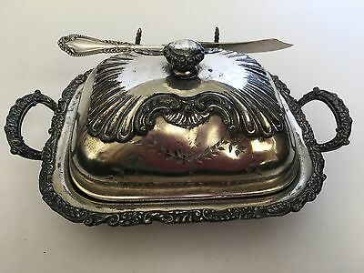 Antique Pairpoint Quadruple Silver Butter Dish W/ Dome Lid & Butter Knife