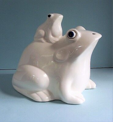 Ceramic White Frog Figurine Coin Piggy Bank With Baby Frog On Back