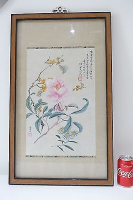 Beautiful Large Chinese 20Th C Scroll Watercolour Calligraphy Painting Flowers