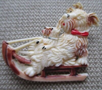 Vintage Celluloid Two Terrier Dogs on Snow Sled Sleigh Japan Brooch