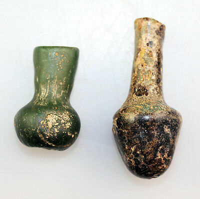 *SC* PAIR OF INTACT ROMAN GLASS BOTTLES, 1st.-3rd. century AD!