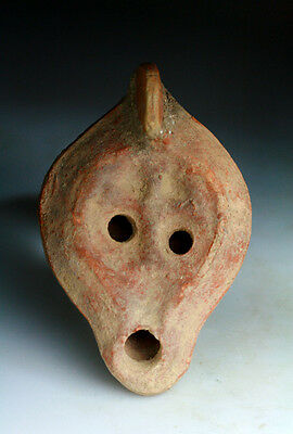 *SC* ROMAN POTTERY OILLAMP w. CHRISTIAN CROSS, 3rd-4th century AD