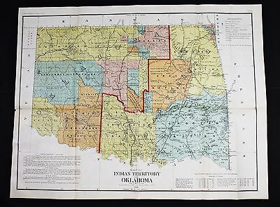 1890 Indian Territory Oklahoma Map Land Office 1st Tulsa Guthrie EXTREMELY RARE