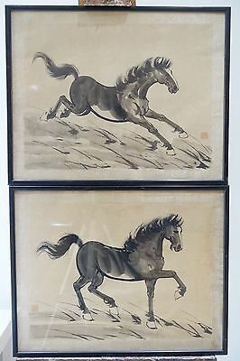 Pair Of Large Chinese 19Th / 20Th C Paintings Of A Horse - Signed