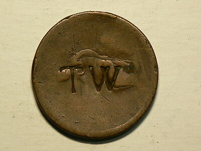 Great Britain 1806 Penny  Counterstamp TW KM# 663 34mm #G5598