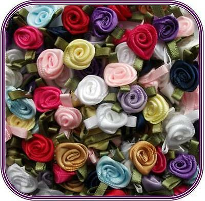 """100 Satin Ribbon Rose Flower 1/4""""-1/2"""" Applique Sewing Bow Craft Mix  207A-3"""