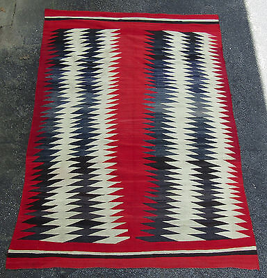"NAVAJO LARGE 91 1/2"" by 63 1/2"" ANTIQUE NAVAJO EYE DAZZLER RUG BLANKET"