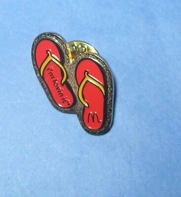 Vintage McDonald's Promotional Pinback Pin Button Sandals I'm Lovin' It