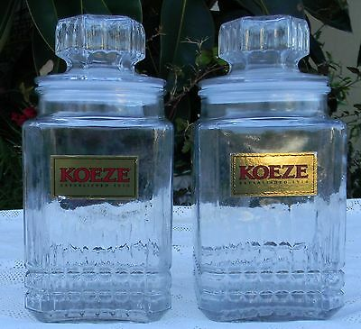 2 lot 2 Qt Canister Glass Apothecary Jar Canister cookie Container Koeze