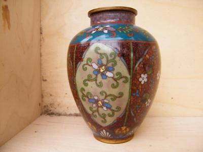 MEIJI 1868/1912 CLOISONNE COMPLEX ENAMEL VASE with SPARKLING DECORATION 4.5""