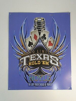 "TEXAS HOLD'EM No Limit Hoyle Metal Wall Sign 15"" X 12"" Cards Poker Chips"