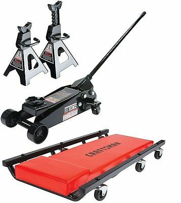 NEW Craftsman 3 ton Floor Jack with Jack Stands and Creeper Set 6000 Pound Lift