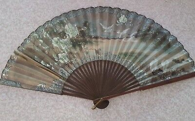 Vintage Chinese Hand Painted Paper Hand Fan