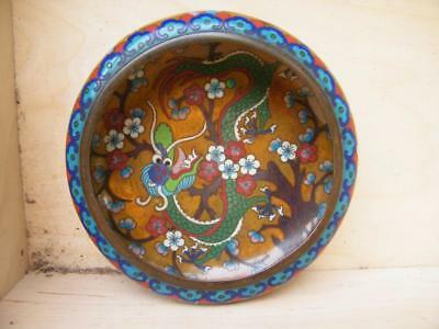 MEIJI 1868/1912 CLOISONNE COMPLEX ENAMEL BOWL with DRAGON DECORATION 6.25""