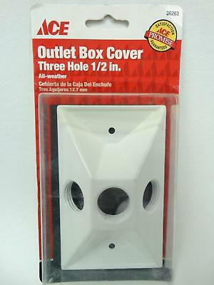 """NEW Ace 36263 White Single Gang Three Holes 1/2"""" All Weather Outlet Box Cover"""