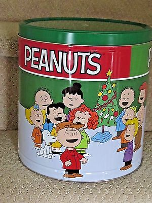 """PEANUTS Large Christmas Tin, 9 1/4"""" Tall, Signature Brands Popcorn, Made in USA"""