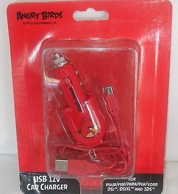 Angry Birds Car Charger USB 12V Power Cable for Nintendo DSi DSiXL 3DS
