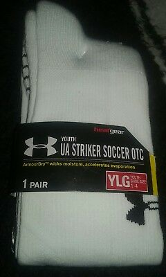 Under Armour Striker Soccer OTC Youth Large (size 1-4) 1 Pair White - NWT