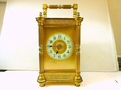 1880s LARGE SIZE VICTORIAN GILDED GOTHIC STYLE 8-DAY STRIKING CARRIAGE CLOCK