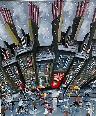 """'HERE COMES THE RAIN' LARGE ORIGINAL OIL ACRYLIC PAINTING BY JOHN ORMSBY 20""""x24"""""""