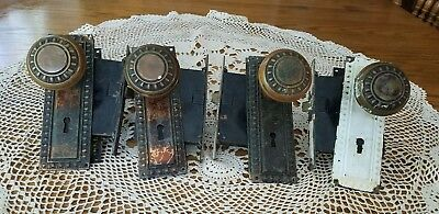 4 Sets Antique Victorian Eastlake Ornate Door Knobs Plates & Mechanism