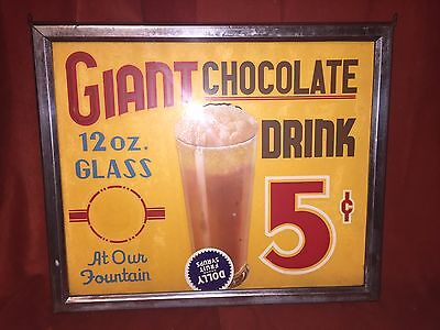 Vintage 1940's Chocolate Drink Soda Fountain  2 Sided Glass Sign Diner Ice Cream