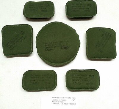 "USGI ACH MICH Helmet Pad Set 7-Piece 3/4"" Olive Drab OD Green & Black NSN New"