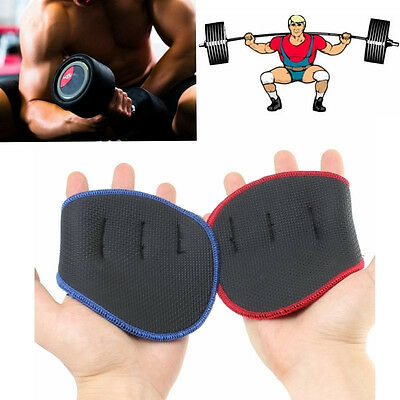 Support Grip Weight Lifting Pads Gloves Fingerless Gym Workout Fitness Training